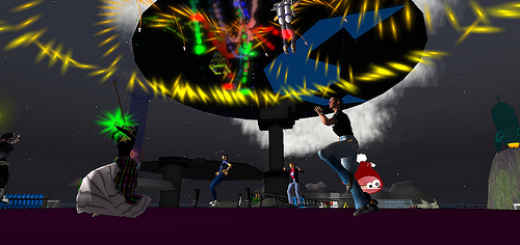 """Microsoft's developers conference """"Heroes Happen Here,"""" in April 2008, in Second Life."""