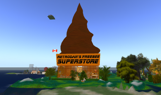 On the OpenSim-based OSGrid, most shopping is free, including at Retrodan's Freebee Superstore.