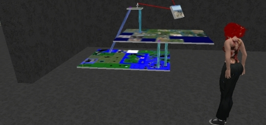Crista Lopes' model of hypergrid teleport connections between three separate grids.