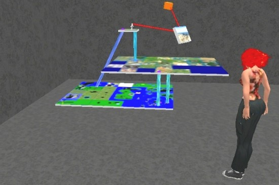 An avatar looks at Crista Lopes' model of hypergrid teleport connections between three separate grids.