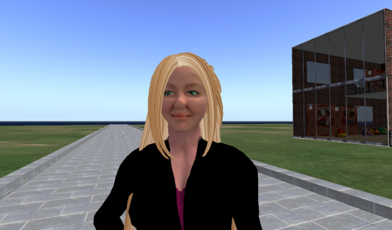 My avatar on the OpenSim-based OSGrid, with the CyberExtruder skin.