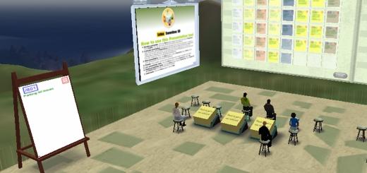 Lotus Sametime 3D meeting space. (Image courtesy IBM.)