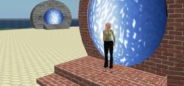 My first attempt at building a hypergate, back at 2009, to take me from one OpenSim world to another.