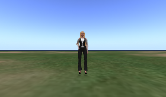 My ReactionGrid avatar on my Trombly Ltd region -- buildings to come soon. I'm wearing hair and shoes from OSGrid, clothing from ReactionGrid.