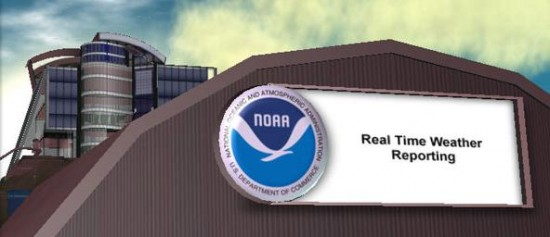 National Oceanic and Atmospheric Administration's Second Life simulation allows people to experience climate change inworld to prevent it in the real world (image courtesy Linden Research Inc.)