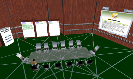 A boardroom setting, one of three default configurations available in IBM's Sametime 3D product.