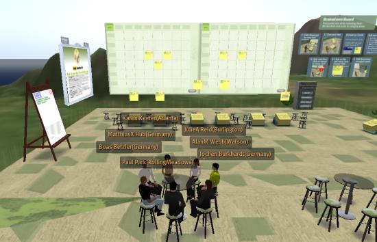 A team meeting in one of IBM's Sametime 3d virtual meeting rooms.