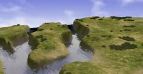 A landscape with a body of water rendered in Xenki.