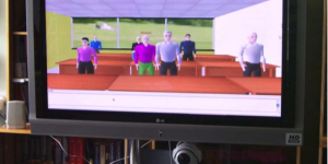 Virtual students attending a real class. (Photo courtesy of the Roxbury Institute of Technology.)