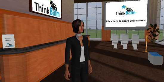 A visitor stands in ThinkBalm's reception area, running on the hosted 3DXplorer platform.