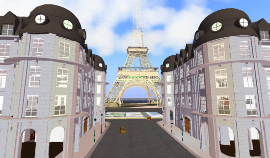 A Paris street on FrancoGrid. This would make a great template for a museum site -- or for a company that wants Paris views for all its virtual employees.