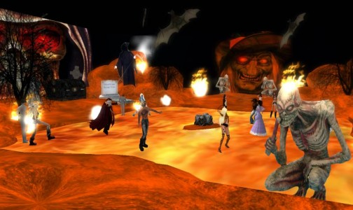 Halloween on OSGrid in 2009. (Photo by Ziah Zhangsun.)