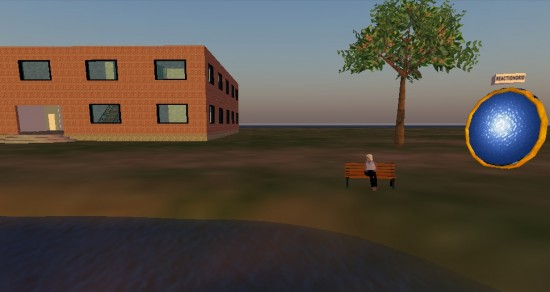 My avatar sits on a bench on our new land on our standalone grid running the Diva Distribution of OpenSim.