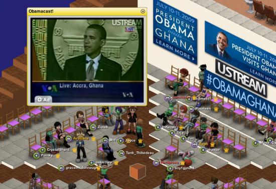 Obama simulcast in Metaplace. (Image courtesy Metaplace.)
