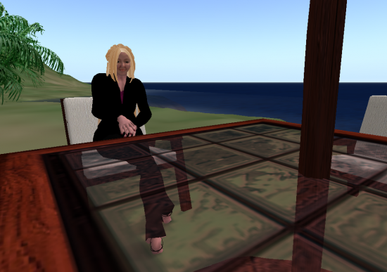 Deep in thought on my private OpenSim beach.