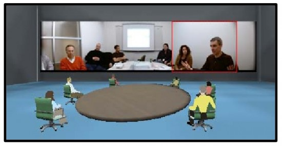 A meeting room in Project Wonderland. (Image courtesy Sun Microsystems.)