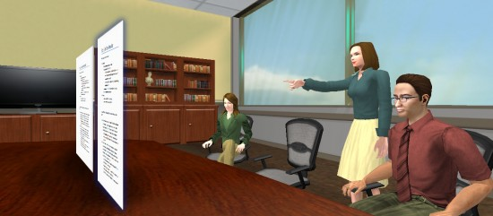 Collaborating in a virtual office in ProtoSphere. (Image by ProtonMedia)