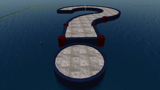 A giant question mark in the middle of the sea -- a deliberate plan to amuse hypergrid travelers?