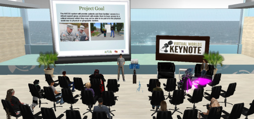 Remedy Communications CEO Doug Thomson speaking at Monday's Virtual Worlds Keynote.