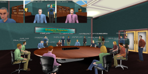 Conversation in ProtonMedia's ProtoSphere virtual world platform about a life sciences R&D topic. (Image courtesy ProtonMedia.)