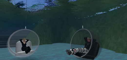 From left: ThinkBalm's Erica Driver and  by MixedRealities' Roland Legrand in Second Life. (Photo by Roland Legrand.)