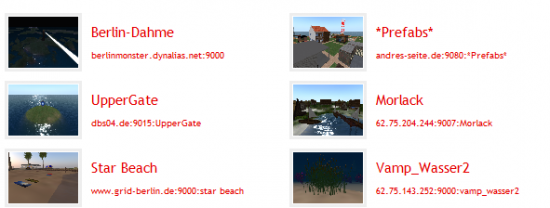 A few of the destinations listed in the Hyperica directory.