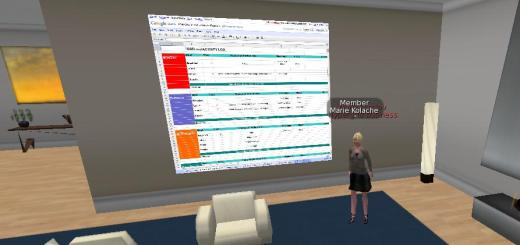 An active Google Spreadsheet in SL Viewer 2.