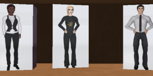 Just some of the avatars available on JokaydiaGrid. Also available -- a small selection of business suits, polo shirts, hair, ladies tops and shoes.