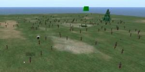 Intel has a tool that allows more than 1,000 avatars on a single OpenSim region. (Image courtesy Michael Cerquoni .)