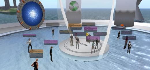 Hypergrid travellers arrive on a foreign OpenSim grid. (Image courtesy John Lester, via Flickr.)