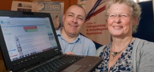 Senior Lecturer and Head of the Serious Games and Virtual Worlds team Michael Callaghan with Professor Maggi Savin-Baden from of Coventry University pictured at IMMERS[ED] 2010 (Image courtesy )