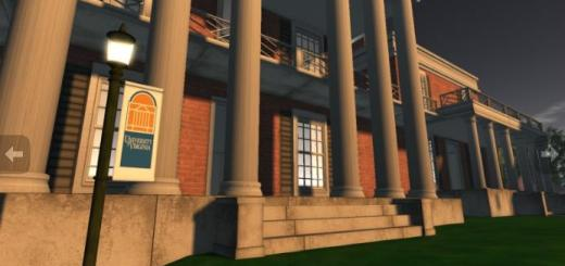 University of Virginia virtual campus in Second Life. (Image courtesy Cranial Tap.)