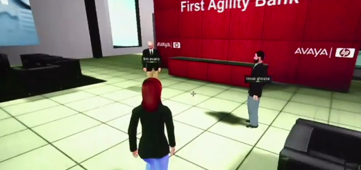 Customer meeting with bank officials in HP's Virtual Bank.