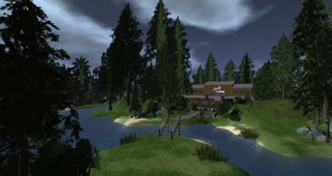 A region on Lost Paradise grid, one of many virtual worlds that has land available for rent.