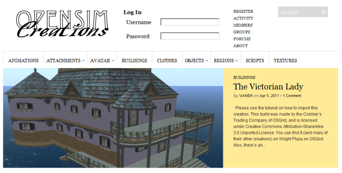 The old OpenSim Creations home page.