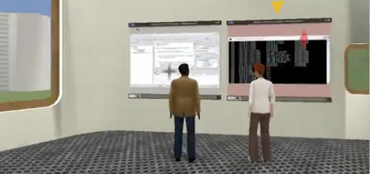 Avatars collaborating in the Teleplace environment. (Image courtesy Teleplace.)