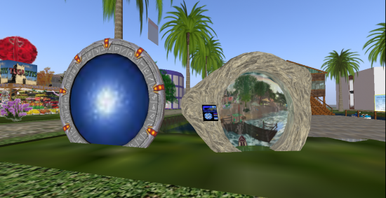 Two different types of hypergates on Festa 24H region of OSGrid allow travel to other grids. The one of the left is from The Hypergates network.