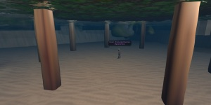 An underwater landing on a region in OSGrid. Oops! How do I get out of here?