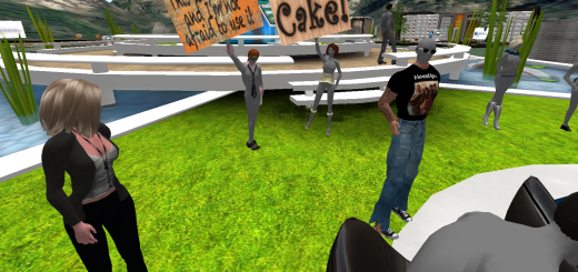 Protesters picket a SpotON3D patent discussion in August, 2011.