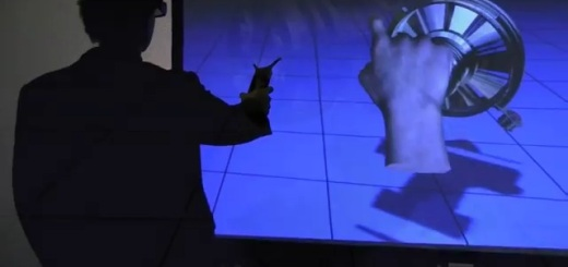 Users can touch and move virtual objects. (Image courtesy WorldViz.)