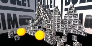BulletSim -- ball knocking over blocks