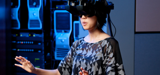 Sophomore Tina Roh experiences the virtual world that she helps to create as one of the lab programmers.
