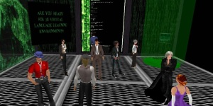 "Tour of the virtual museum ""exit space"" modeled after the Matrix. (Image courtesy Karl Kapp.)"