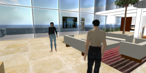 Zoe, a prototype AI bot, lives in her own house on OpenSim. (Image courtesy David Burden.)