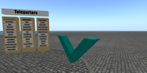The big spinning V is the OMC in-world payment terminal. (Image courtesy Speculoos.)