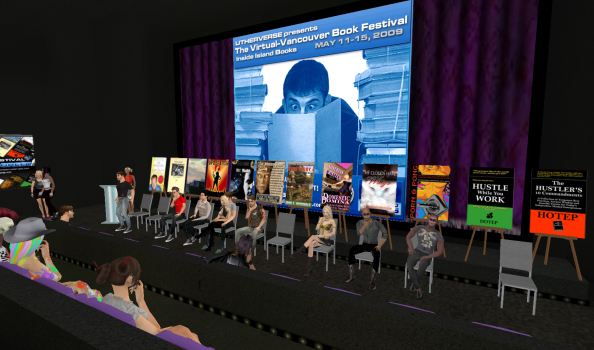 A meet-and-greet with ten authors at the Virtual Vancouver Book Festival in May of 2012. (Image courtesy Utherverse.)