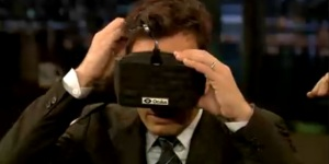 Jimmy Fallon puts on Oculus Rift headset. Says: