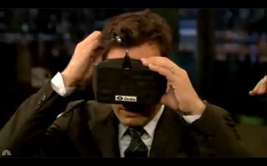 "Jimmy Fallon puts on Oculus Rift headset. Says:  ""What is going on! Wow! Holy mackerel! Whoa!"""