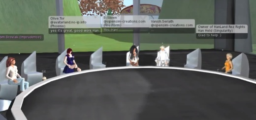 Vanish Seriath of OpenSim Creations hosts avatar rights meeting.
