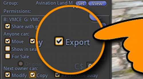 "The ""Export"" permission setting is already implemented in the Alpha version of the Singularity viewer. (Image courtesy Avination.)"